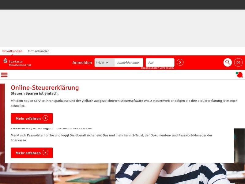 Screenshot von www.sparkasse-muensterland-ost.de